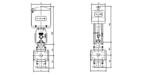 5,zdlx型电子式电动三通调节阀外形尺寸图片